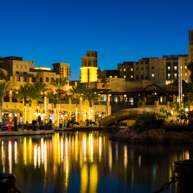 """Madinat Jumeirah luxury resort and restaurants in Dubai"" stock image"