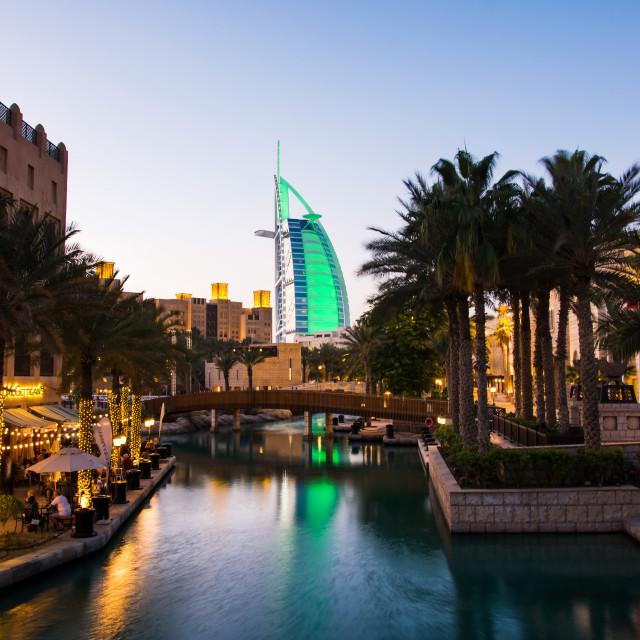 """Burj Al Arab luxury hotel view from the Madinat Jumeirah"" stock image"