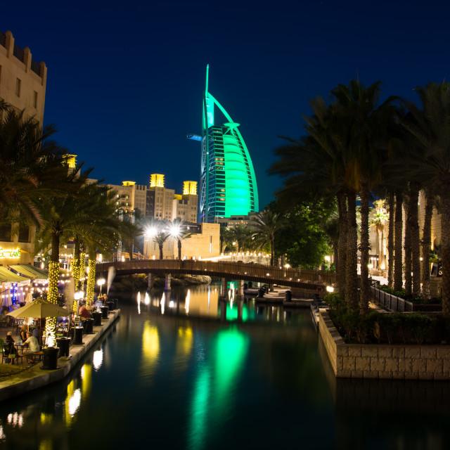 """Burj Al Arab luxury hotel view from the Madinat Jumeirah luxury resort in Dubai, United Arab Emirates"" stock image"