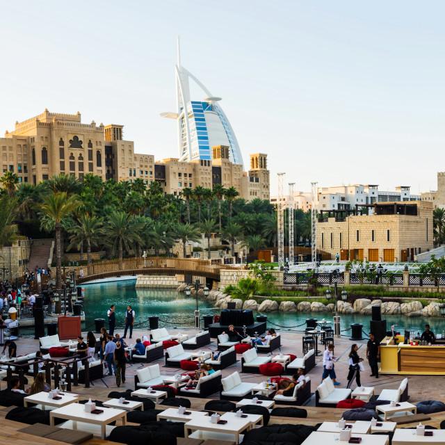 """""""Panoramic view of Madinat Jumeirah and Burj Al Arab in Dubai"""" stock image"""