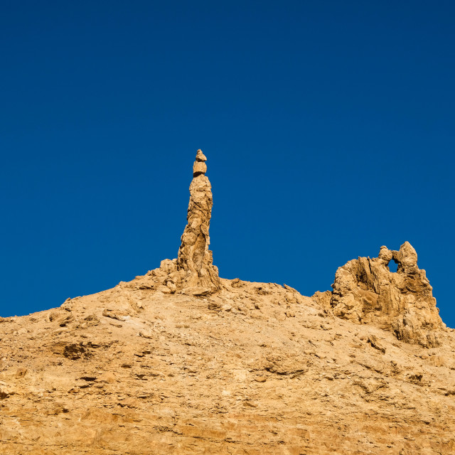 """""""Petrified lot's wife with blue sky background"""" stock image"""
