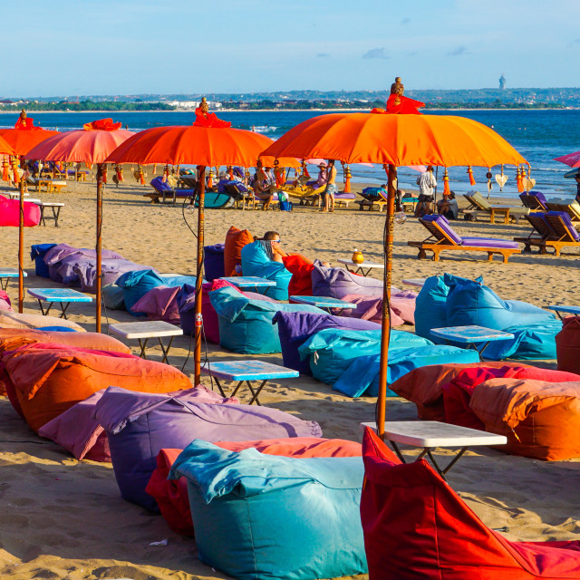 """Sunbathing at Kuta Beach"" stock image"