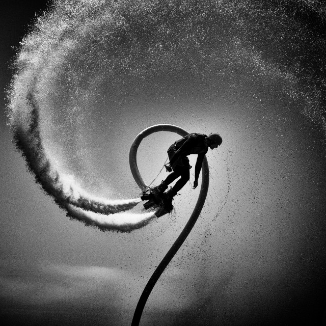 """Flyboard Water Sport: The Thrill Seeker, Toronto, Canada"" stock image"