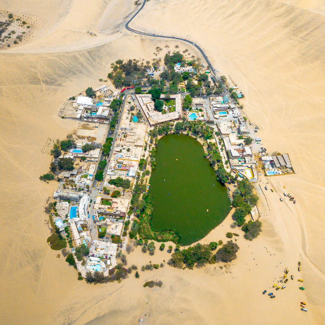 """""""Drone photo of an Huacachina oasis in Peru"""" stock image"""