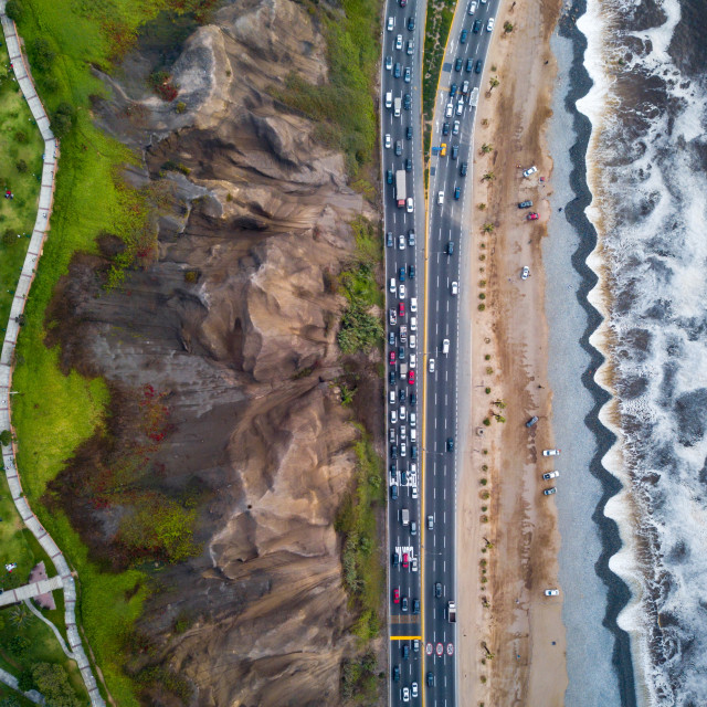 """Drone photo of Costa Verde highway near beach in Lima"" stock image"