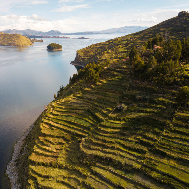"""Aerial photo of Island of the Sun at Bolivian side of Lake Titicaca"" stock image"
