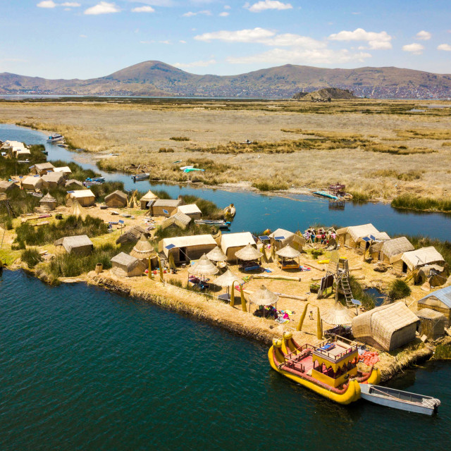 """Aerial view of floating islands at Lake Titicaca"" stock image"