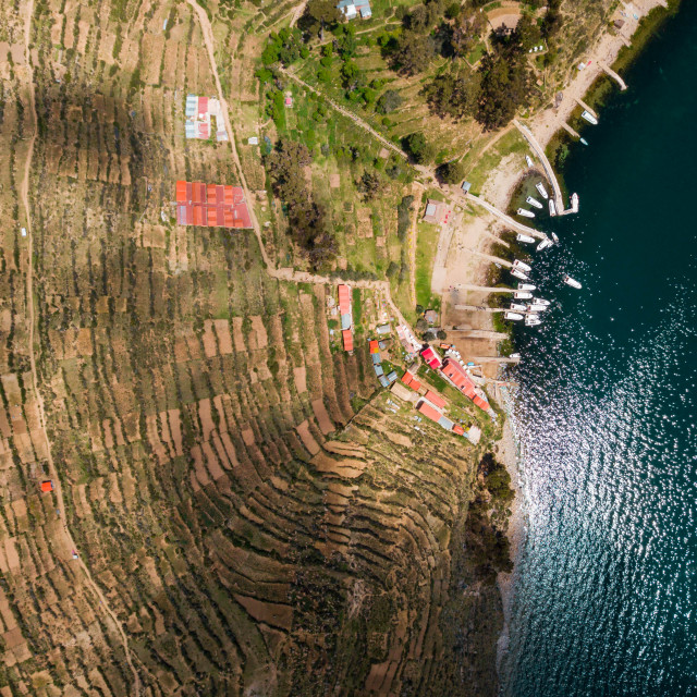 """Aerial photo of boats at lake Titicaca"" stock image"