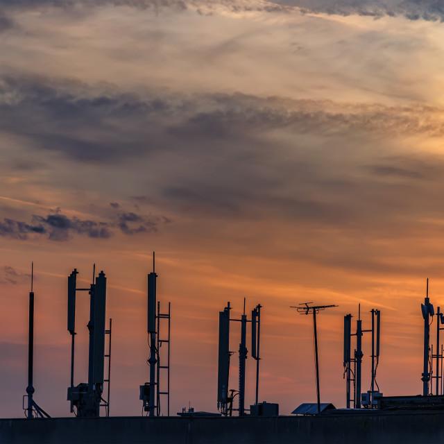 """""""silhouette of GSM antennas"""" stock image"""
