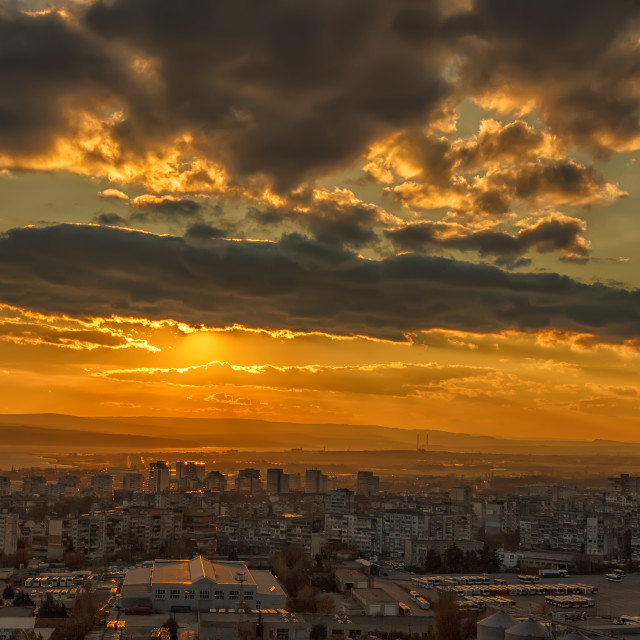 """""""sunset over the city"""" stock image"""