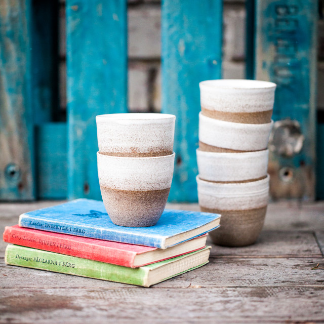 """Cups and Books"" stock image"