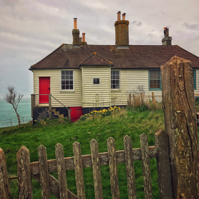 """Fisherman's cottage at Cuckmere Haven East Sussex England"" stock image"