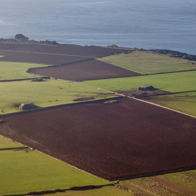 """Aerial panorama of Isle of Man"" stock image"
