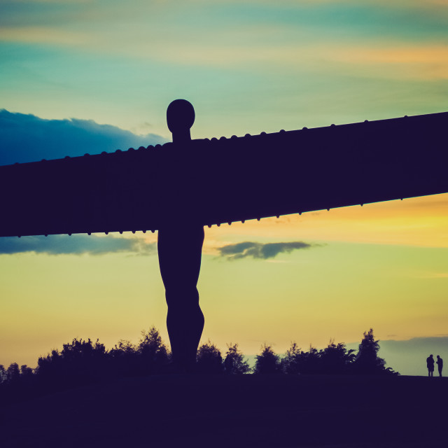 """Silhouette of the Angel of the North"" stock image"