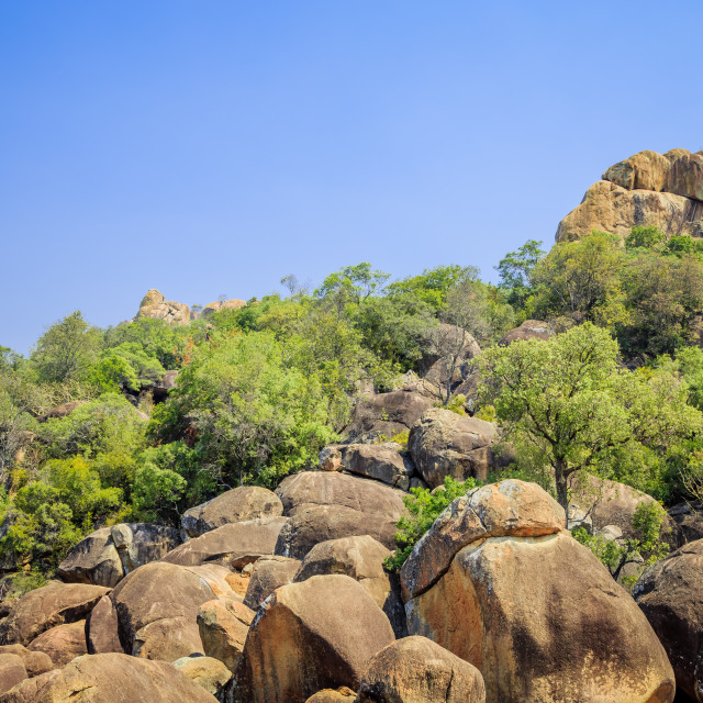 """Fallen boulders in Matobo National Park, Zimbabwe."" stock image"