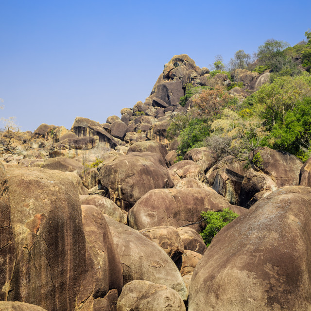 """Fallen boulders in Matobo National Park, Zimbabwe"" stock image"