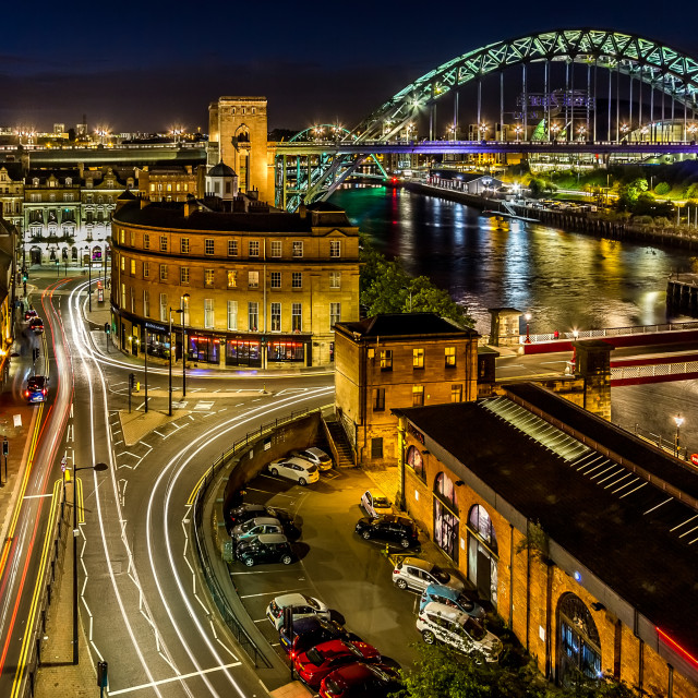 """Newcastle-Upon-Tyne at Night"" stock image"