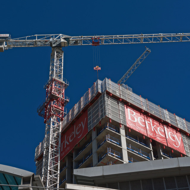 """Berkeley's South Quay Plaza development under construction #1"" stock image"