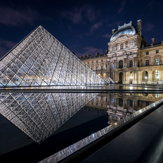 """""""The Louvre Pyramid in Paris"""" stock image"""