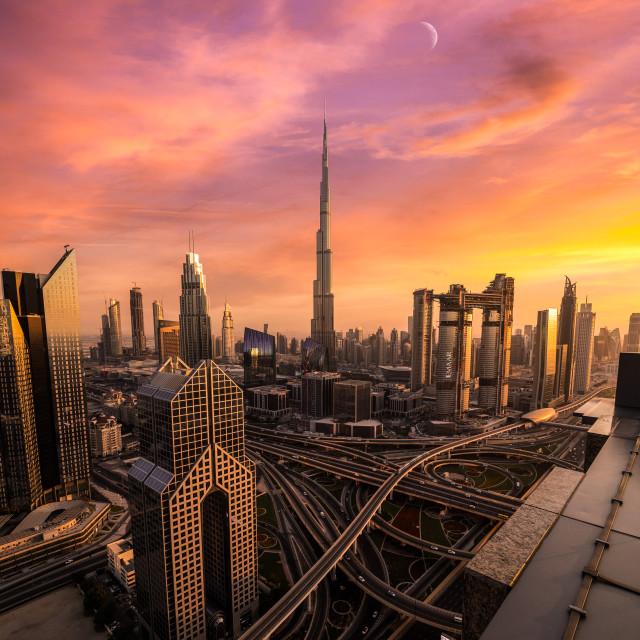 """Sunset over Dubai"" stock image"
