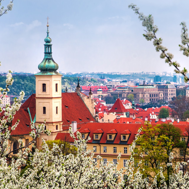 """Church Of Our Lady Of Victory And St Nicholas. Spring Prague"" stock image"