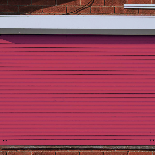 """""""Closed red security shutters"""" stock image"""