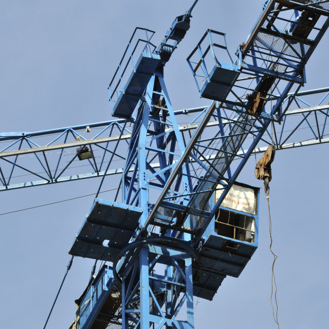 """""""Tower cranes at construction site"""" stock image"""
