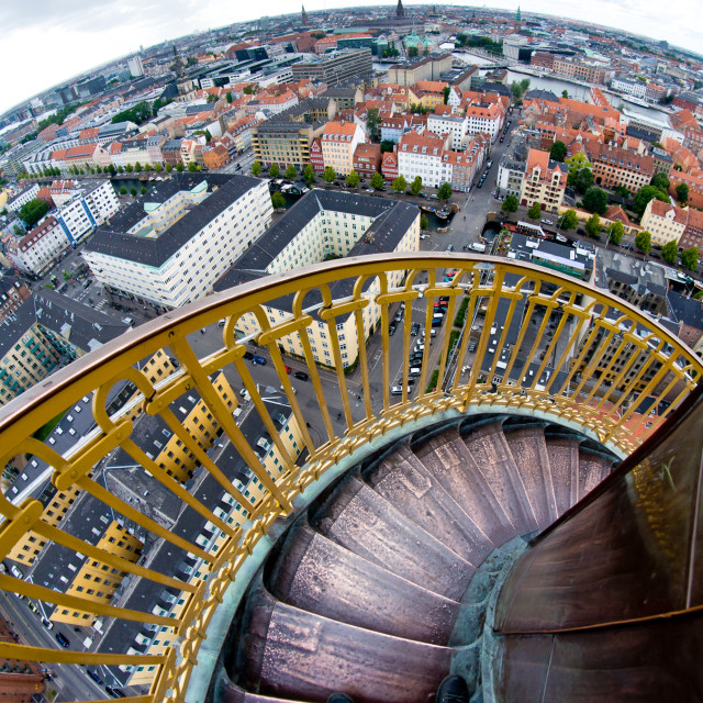 """round tower stairs make one feel sick when looking down"" stock image"