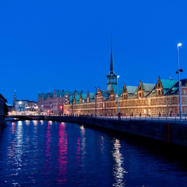 """""""Copenhagen stock exchange in the night"""" stock image"""