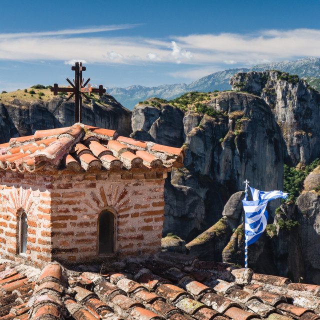 """""""inside one of the famous Meteora monasteries"""" stock image"""