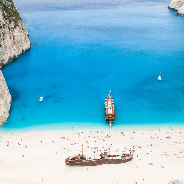 """Famous Navagio beach, Zakynthos, Greece, unique point of view"" stock image"