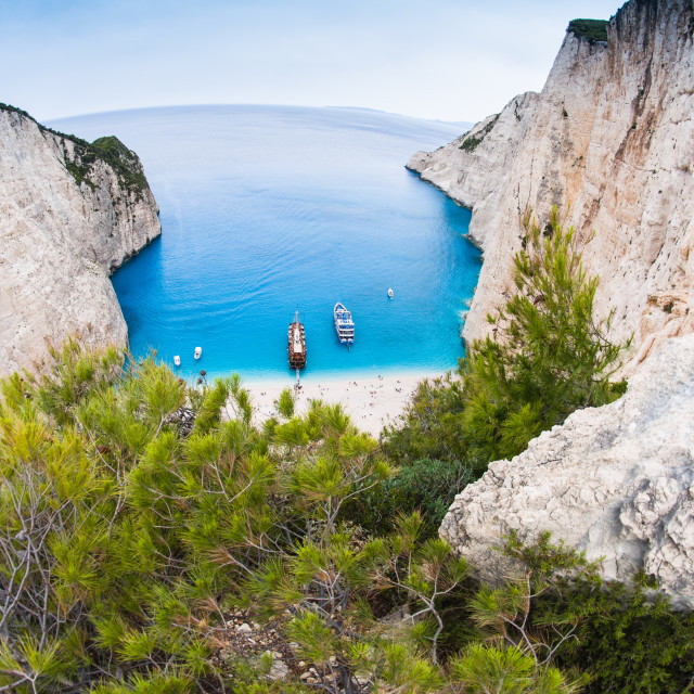 """""""Famous Navagio beach, Zakynthos, Greece, from unusual perspective"""" stock image"""