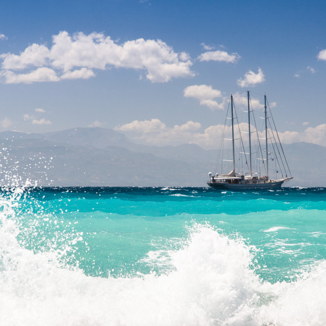 """sailship cruising dangerous seas, big waves"" stock image"