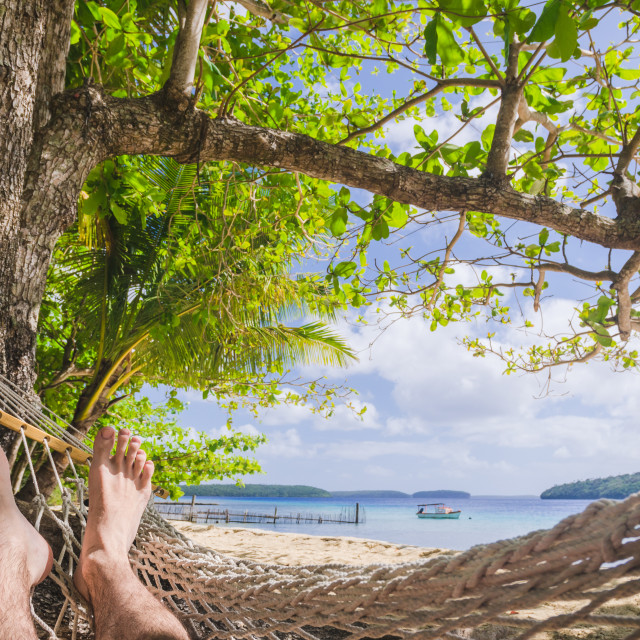"""in the hammock at the beach, point of view"" stock image"