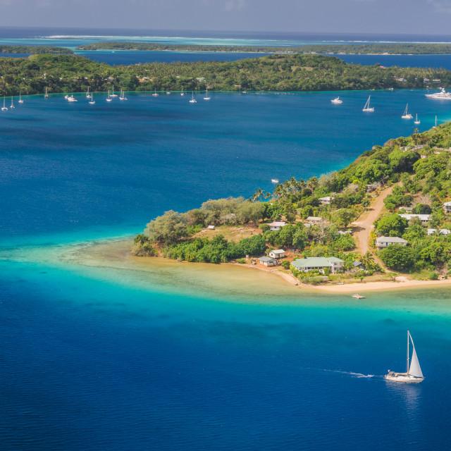 """Yacht cruising Kingdom of Tonga, from above"" stock image"