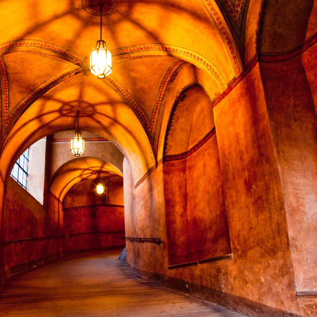 """historical hallway in old castle"" stock image"