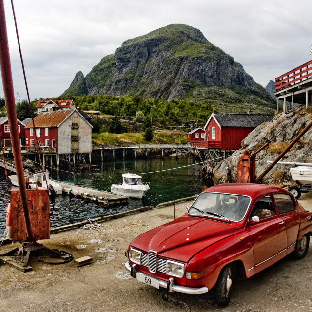 """Small Norwegian fishing village"" stock image"