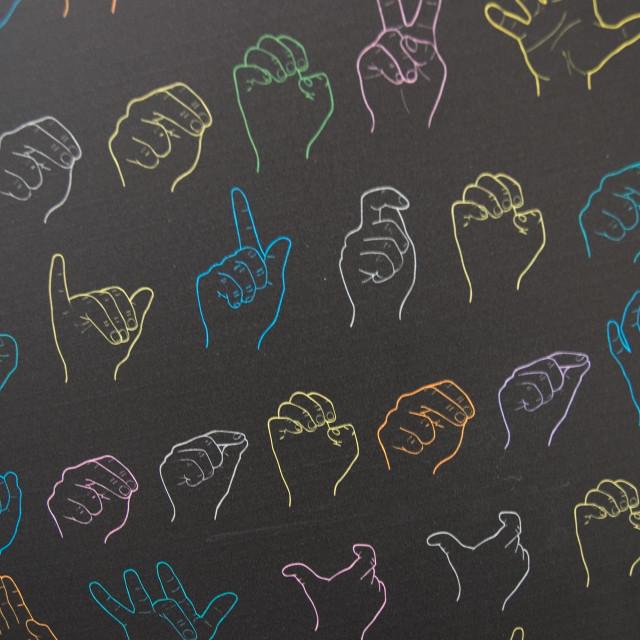 """""""dynamic symbols of sign language"""" stock image"""