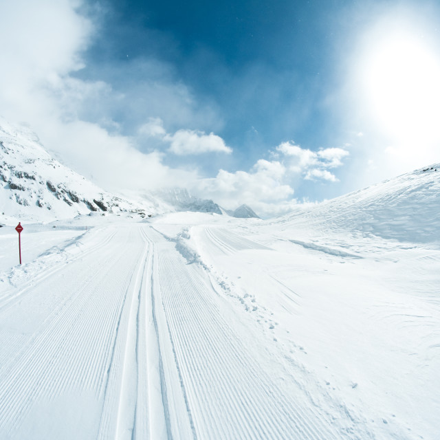 """winter landscape with skiing tracks"" stock image"