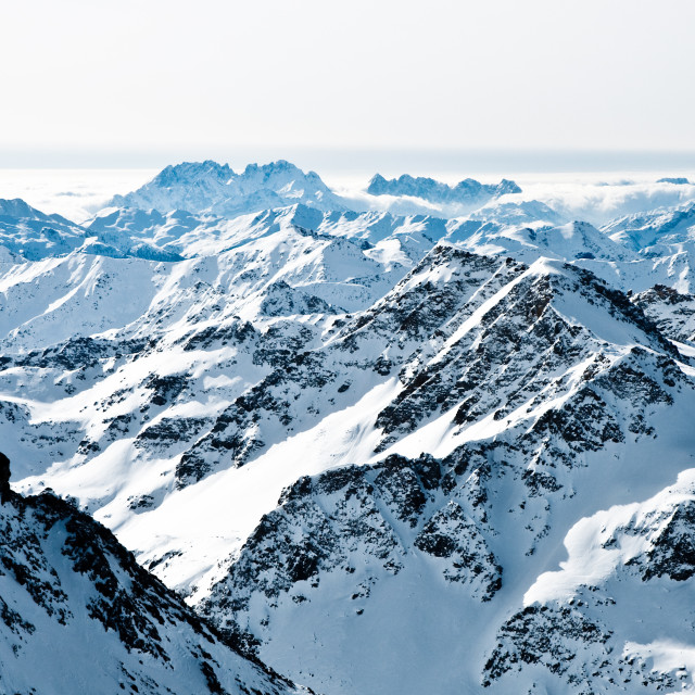 """mountaintops in winter, Alps"" stock image"