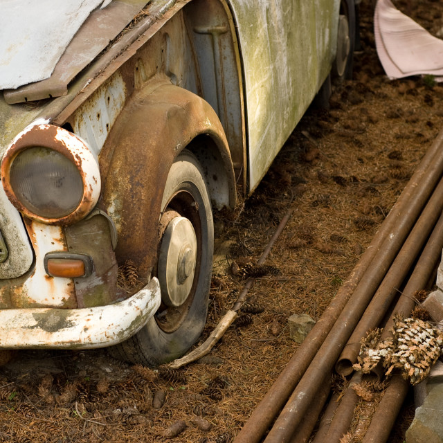 """wrecked old car"" stock image"