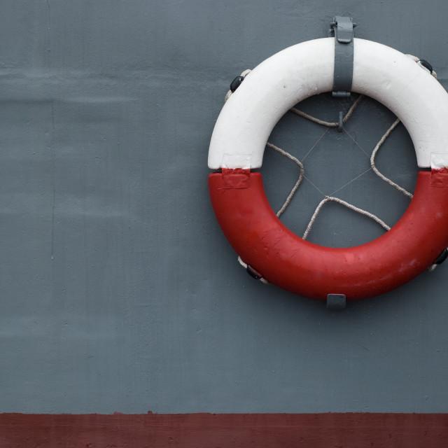"""life ring on battleship"" stock image"