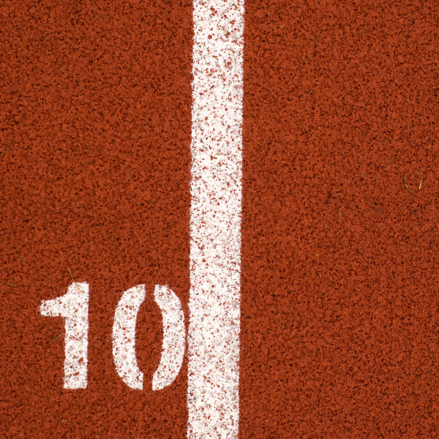 """10 mark on running track"" stock image"