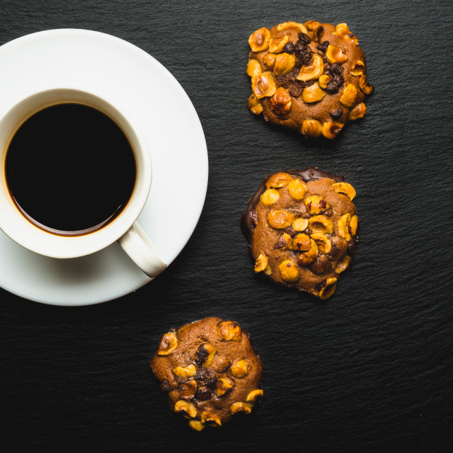 """""""artisan chocolate and almond cookies with coffee. Top view"""" stock image"""