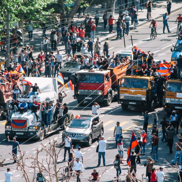 """""""Peaceful protest with trucks blocking the road"""" stock image"""