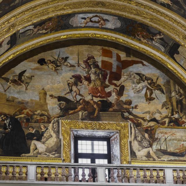 """""""Valletta, Malta St John Roman Catholic Co-Cathedral interior art."""" stock image"""