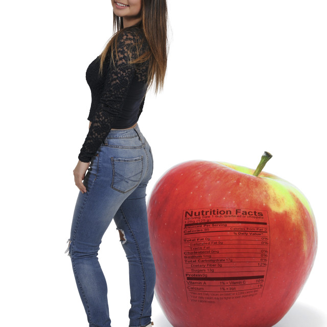 """Asian Teenager Woman and apple"" stock image"