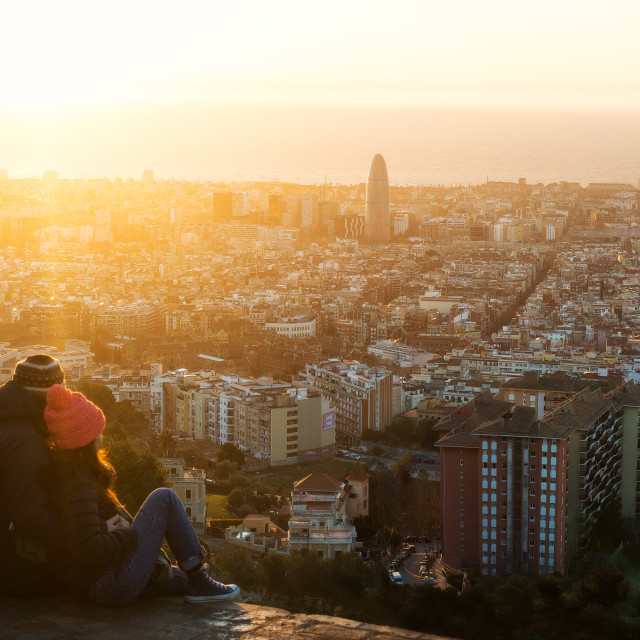 """""""Sunrise in Barcelona"""" stock image"""