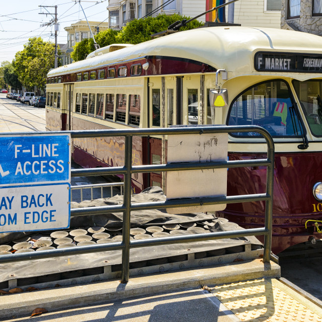 """""""Trolley bus in San Francisco"""" stock image"""