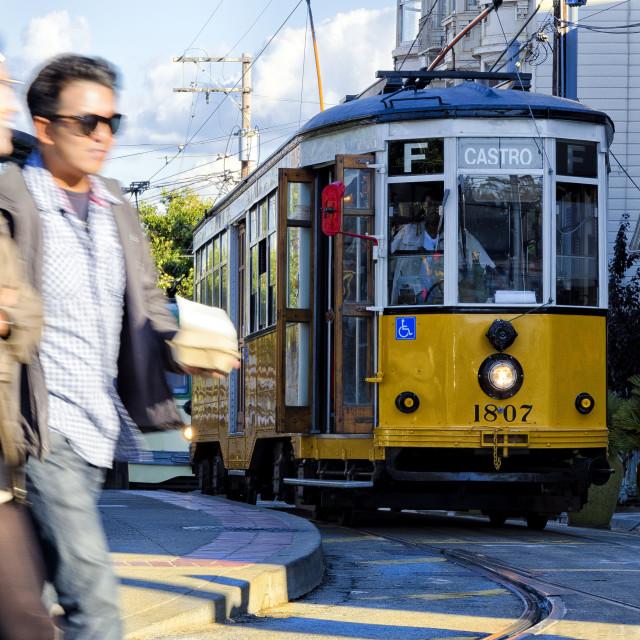 """""""The F train at the Castro"""" stock image"""